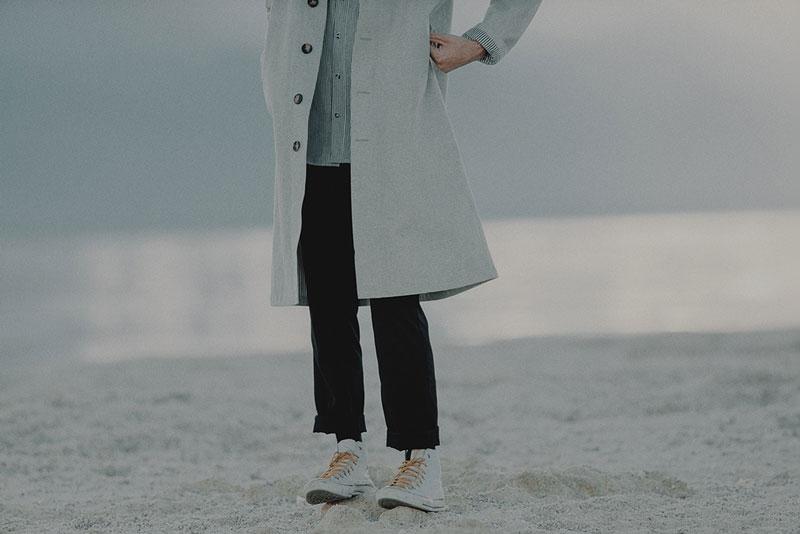 Hotel 1171 – pánský kabát, dlouhý, šedý | Pánské značkové oblečení