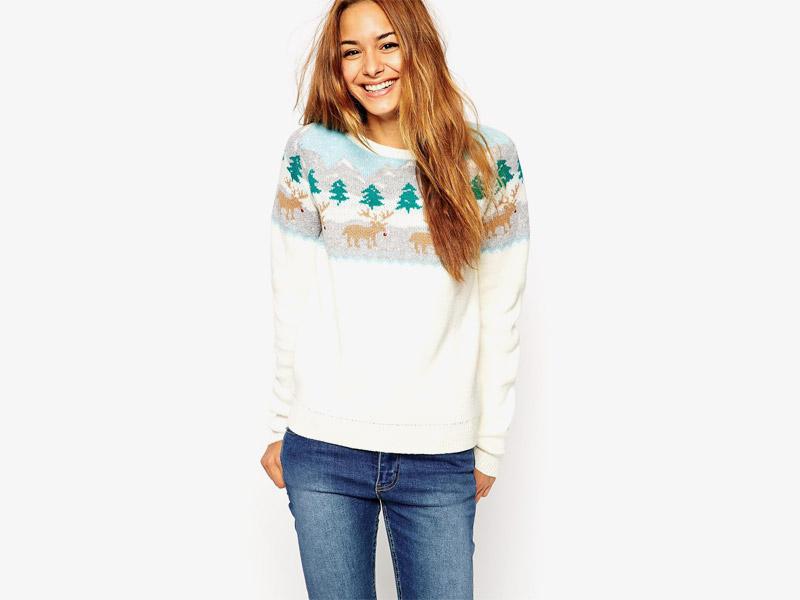 Vánoční svetr se soby, dámský pletený svetr, bílý