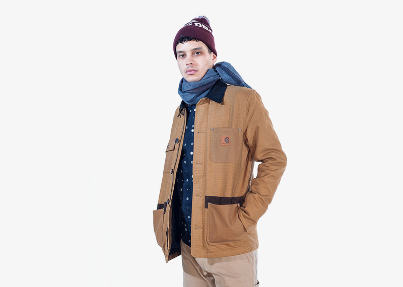 Carhartt WIP – podzimní hnědá bunda s límcem, bez kapuce, pánská | Pánské značkové podzimní/zimní oblečení