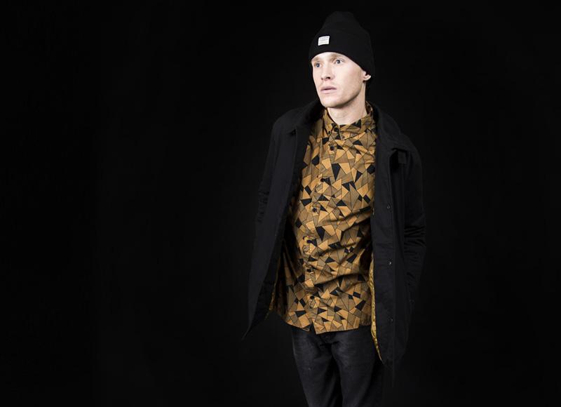 RVLT (Revolution) – žlutá košile se vzorem, černá podzimní bunda, pánská | Pánské značkové oblečení, móda