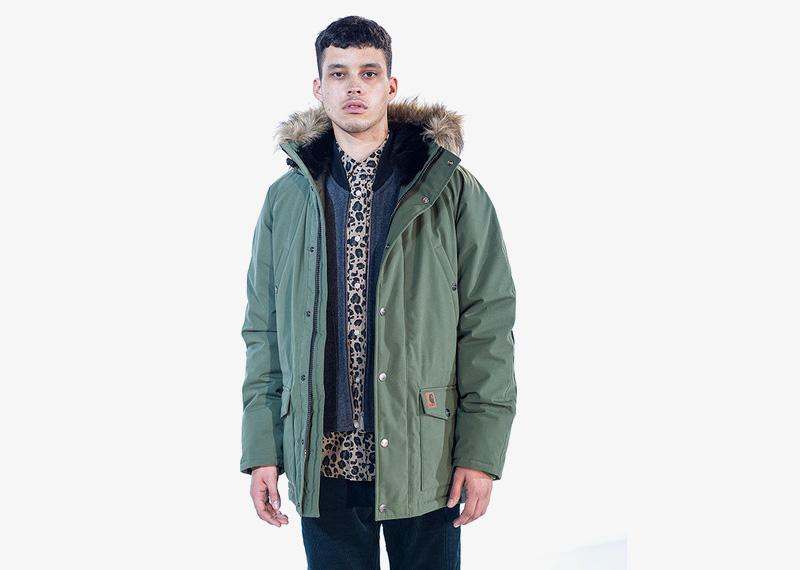 Carhartt WIP – zimní bunda s kapucí s kožíškem, zelená, pánská | Pánské značkové podzimní/zimní oblečení