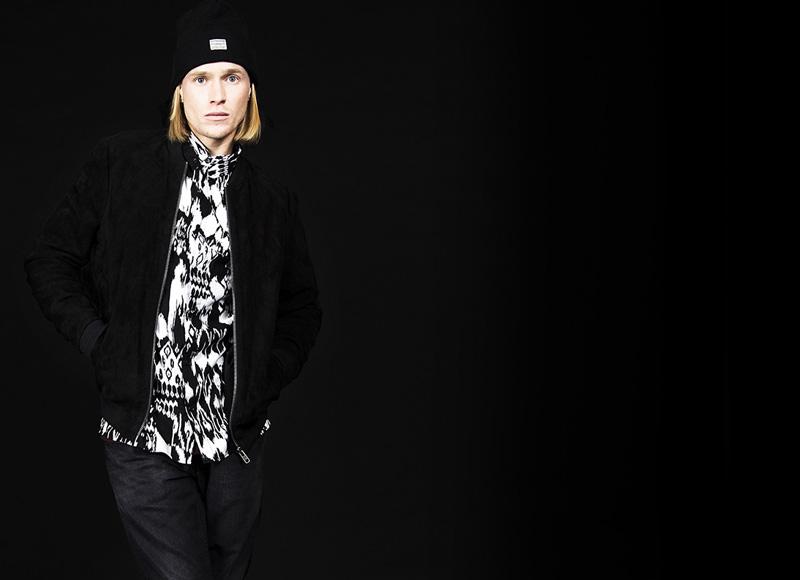 RVLT (Revolution) – černobílá košile se vzorem, černý bomber | Pánské značkové oblečení, móda