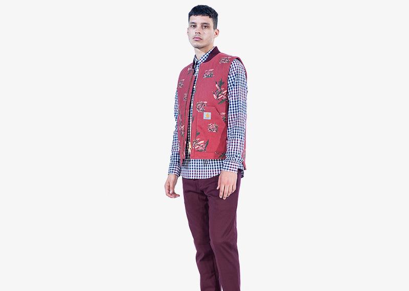 Carhartt WIP – červená vesta s ptáky, pánská | Pánské značkové podzimní/zimní oblečení