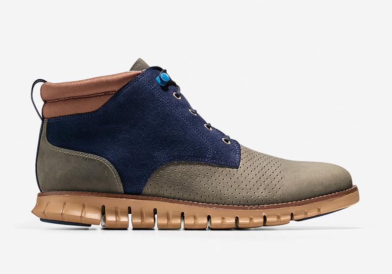 Cole Haan ZeroGrand Boot – zimní boty, vysoké hnědo-modré boty, pánské kotníkové boty, sportovní podrážka