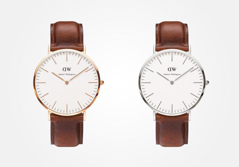 Daniel Wellington – hodinky pánské, elegantní – Classic St. Andrew – světle hnědý náramek, bílý ciferník