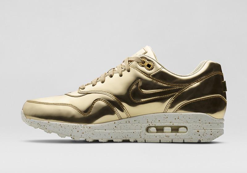 Nike Air Max 1 Liquid Metal – dámské zlaté tenisky, sneakers, lesklé, bílá podrážka