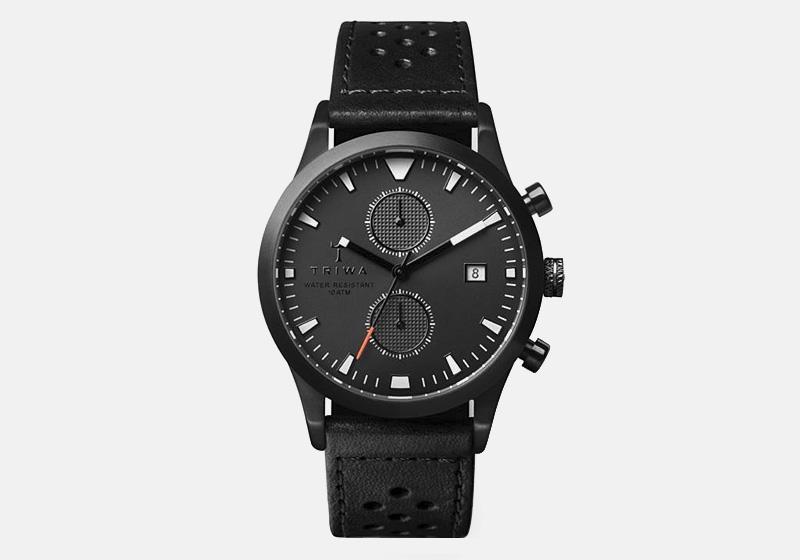 Hodinky Triwa – Sort of Black Glow – černé, ocelové pouzdro, kožený řemínek, chronografy | Pánské a dámské luxusní hodinky