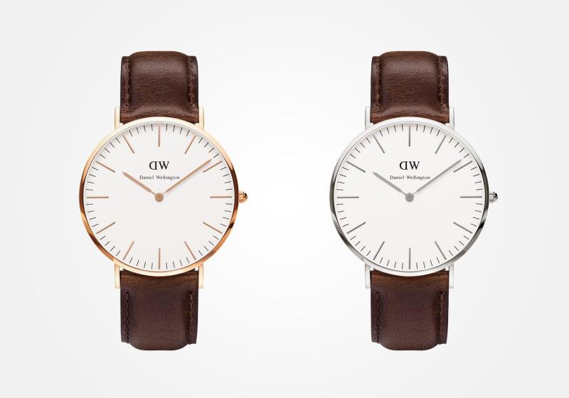 Daniel Wellington – hodinky pánské, elegantní – Classic Bristol – tmavě hnědý náramek, bílý ciferník