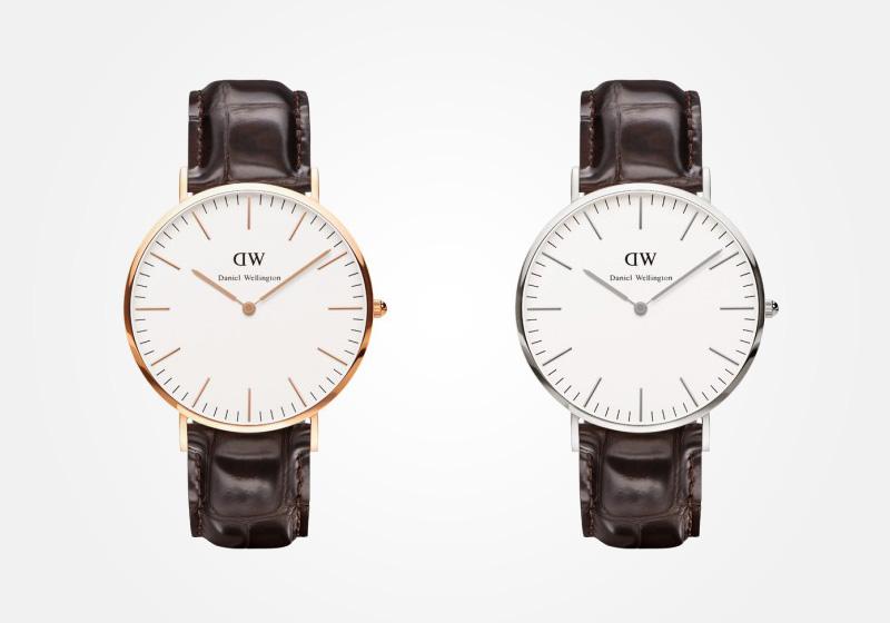 Daniel Wellington – hodinky pánské, elegantní – Classic York – tmavě hnědý náramek, bílý ciferník