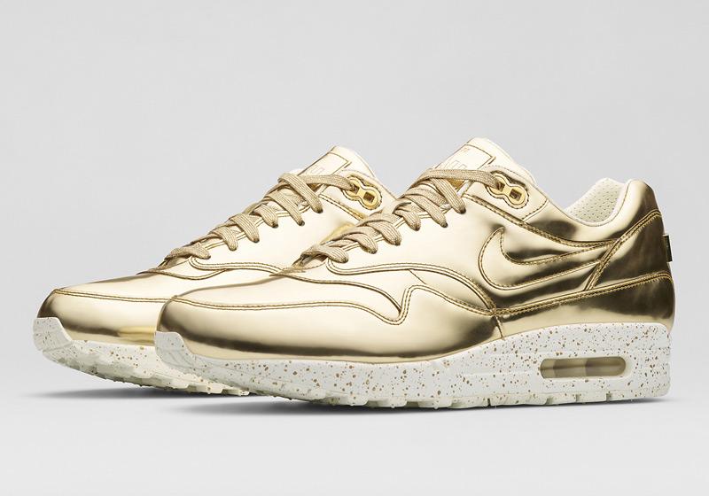 Nike Air Max 1 Liquid Metal – dámské sneakers, zlaté tenisky, lesklé, bílá podrážka