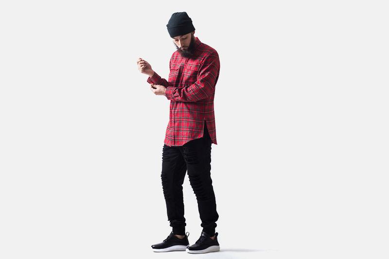 Unyforme – červená kostkovaná košile s dlouhým rukávem | Pánské značkové oblečení