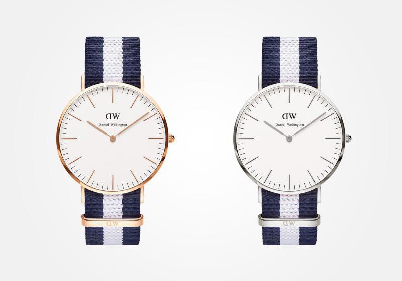 Daniel Wellington – hodinky pánské, elegantní – Classic Glasgow – modro-bílý NATO náramek, bílý ciferník