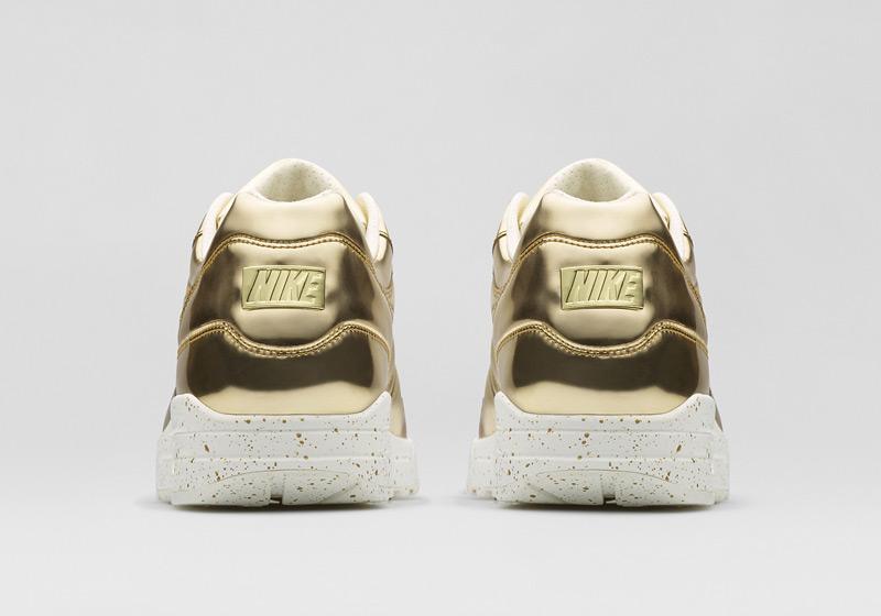 Nike Air Max 1 Liquid Metal – tenisky – zlaté, dámské sneakers, lesklé, bílá podrážka