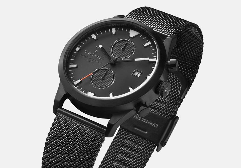 Hodinky Triwa – Sort of Black Glow – černé, ocelové pouzdro i náramek, chronografy | Pánské a dámské luxusní hodinky