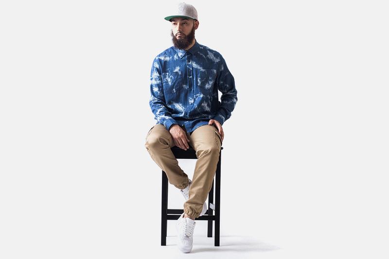 Unyforme – modrá košile s dlouhým rukávem, kalhoty joggers s gumou v nohavicích | Pánské značkové oblečení
