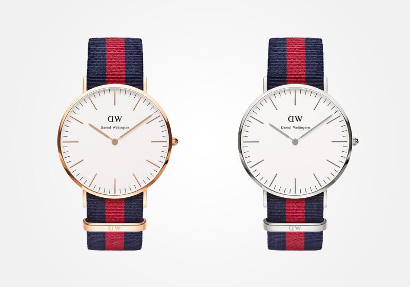 Daniel Wellington – hodinky pánské, elegantní – Classic Oxford – modro-červený NATO náramek, bílý ciferník
