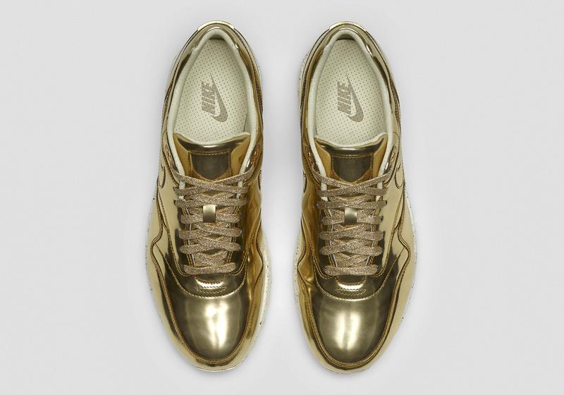 Nike Air Max 1 Liquid Metal – lesklé zlaté tenisky, dámské sneakers, bílá podrážka