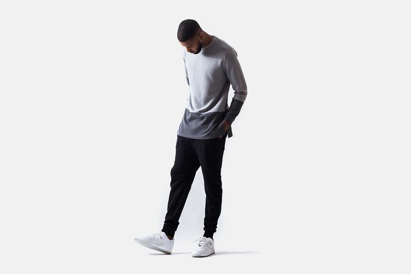 Unyforme – šedá pánská mikina bez úpletu, černé kalhoty joggers | Pánské značkové oblečení