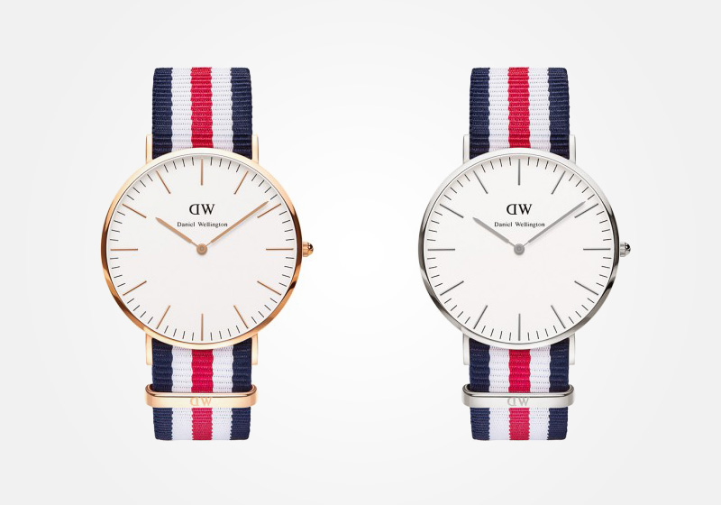 Daniel Wellington – hodinky pánské, elegantní – Classic Canterbury – modro-bílo-červený NATO náramek, bílý ciferník