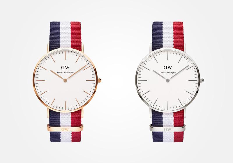 Daniel Wellington – hodinky pánské, elegantní – Classic Cambridge – modro-bílo-červený NATO náramek, bílý ciferník