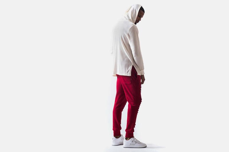Unyforme – pánská mikina s kapucí, červené kalhoty joggers | Pánské značkové oblečení