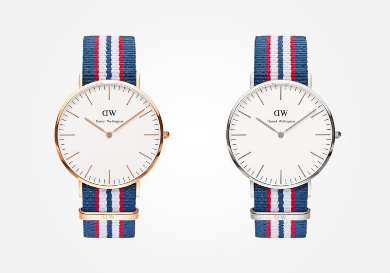 Daniel Wellington – hodinky pánské, elegantní – Classic Belfast – bílo-modro-červený NATO náramek, bílý ciferník