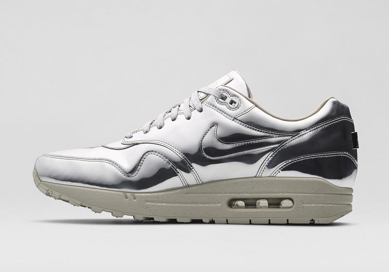 Nike Air Max 1 Liquid Metal – dámské stříbrné tenisky, sneakers, lesklé, bílá podrážka