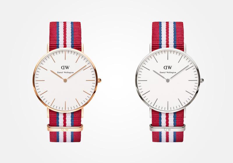 Daniel Wellington – hodinky pánské, elegantní – Classic Exeter – červeno-bílo-modrý NATO náramek, bílý ciferník