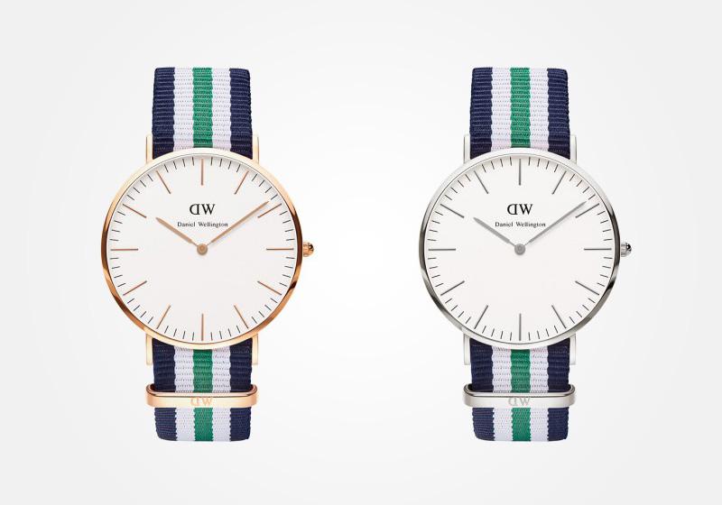 Daniel Wellington – hodinky pánské, elegantní – Classic Nottingham – modro-bílo-zelený NATO náramek, bílý ciferník