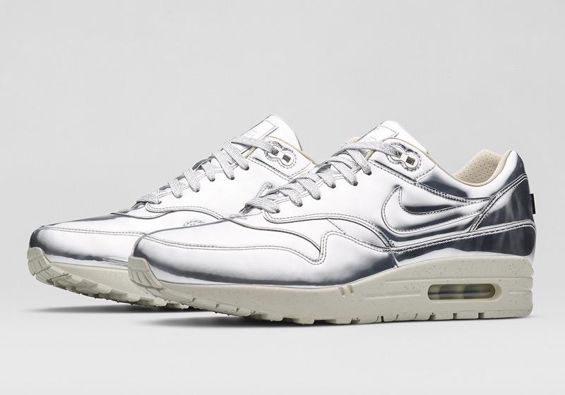 Nike Air Max 1 Liquid Metal – dámské sneakers, stříbrné tenisky, lesklé, bílá podrážka