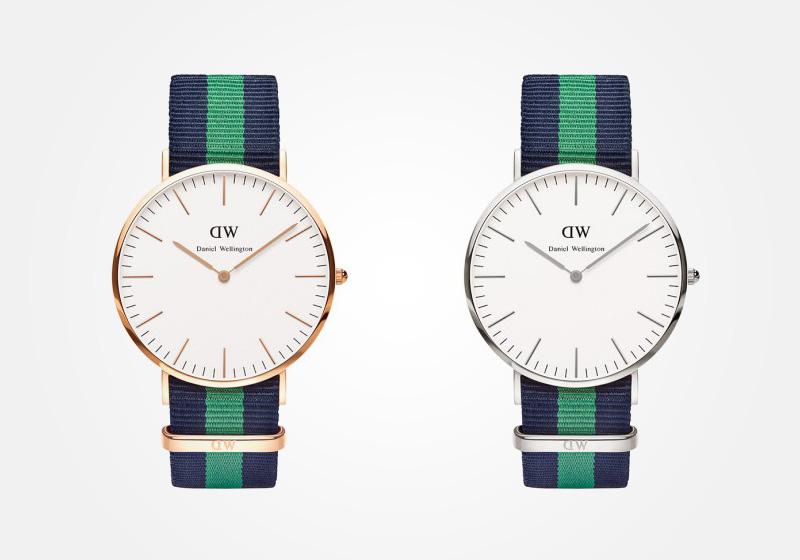 Daniel Wellington – hodinky pánské, elegantní – Classic Warwick – modro-zelený náramek, bílý ciferník