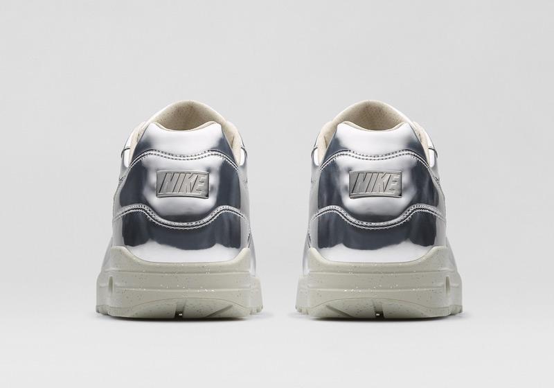 Nike Air Max 1 Liquid Metal – tenisky – stříbrné, dámské sneakers, lesklé, bílá podrážka