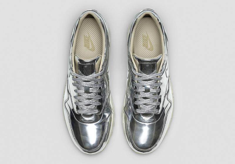 Nike Air Max 1 Liquid Metal – lesklé stříbrné tenisky, dámské sneakers, bílá podrážka