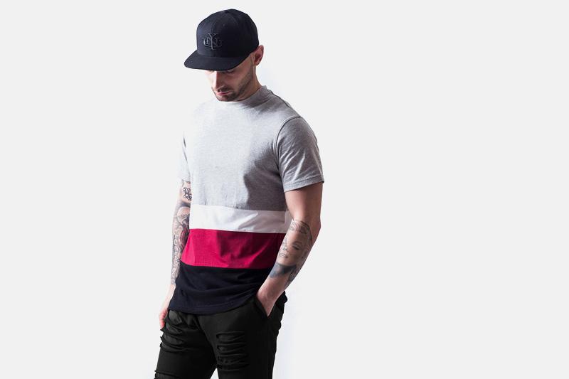 Unyforme – šedo-bílo-červeno-modré tričko | Pánské značkové oblečení