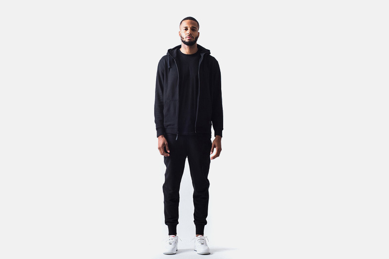 Unyforme – černá mikina na zip s kapucí, černé stylové tepláky | Pánské značkové oblečení