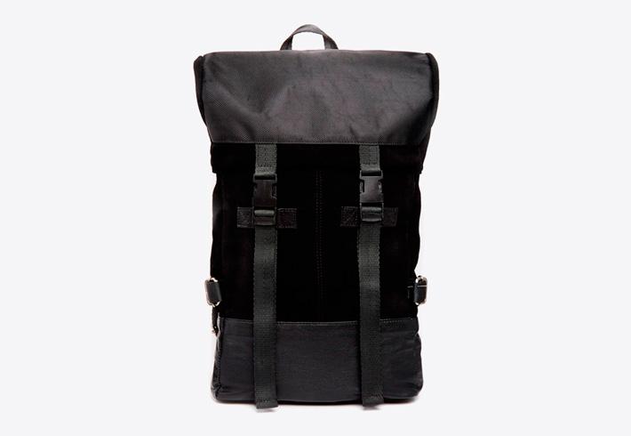 Černý kožený batoh na záda Asos