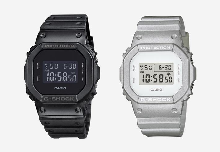 Digitální hodinky Casio G-Shock DW5600 — černé, metalické stříbrné