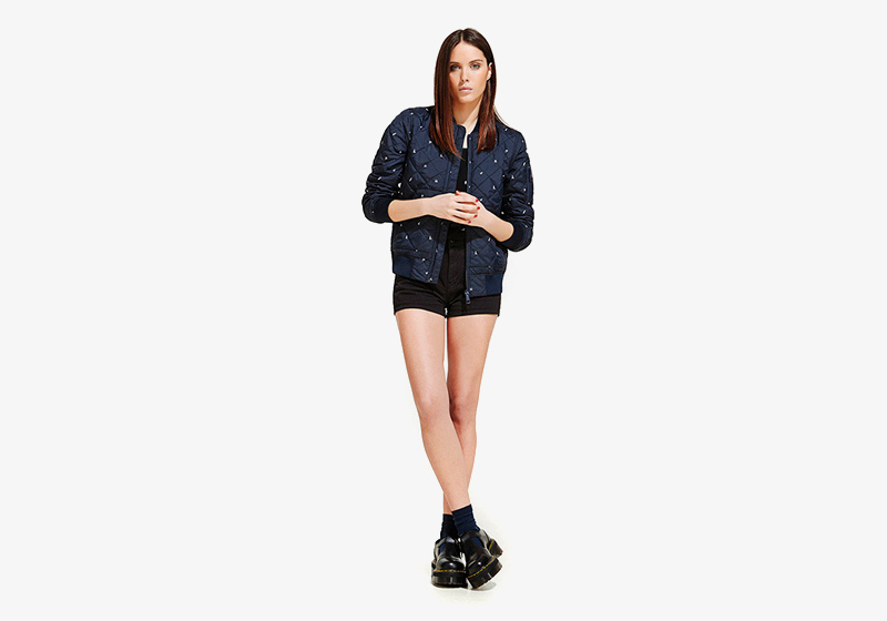 Carhartt WIP – dámský prošívaný bomber, krátká bunda do pasu, černé kraťasy