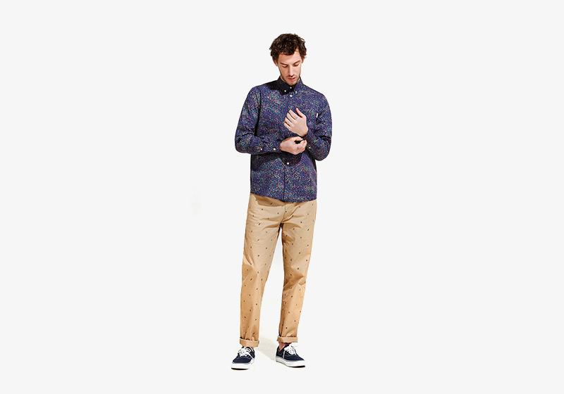 Carhartt WIP – pánská košile se vzorem a dlouhým rukávem, béžové kalhoty