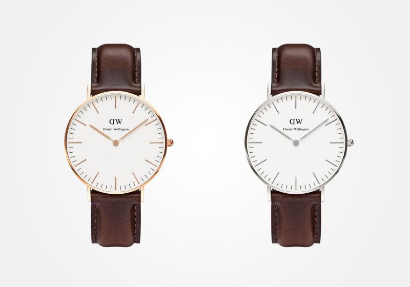 Daniel Wellington – dámské hodinky, náramkové, elegantní – Classic Bristol Lady – hnědý kožený náramek, bílý ciferník