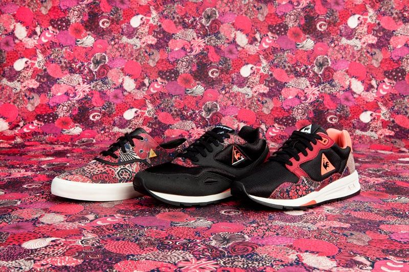 Le Coq Sportif x Liberty – nízké boty (tenisky) se vzorem, černé, červené, růžové