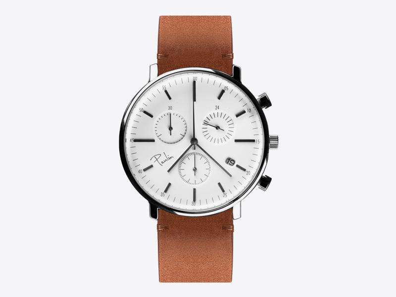 Paulin – pánské hodinky C200E, náramkové, bílý ciferník, hnědý kožený náramek, ocelové pouzdro