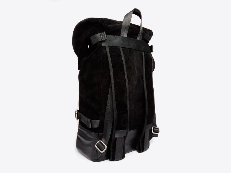 Asos – černý kožený batoh na záda, semišový, trendy a stylový batoh