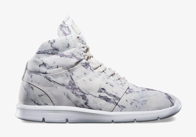 Boty Vans Marleaux – bílé – mramorový vzor, kotníkové, zimní, vysoké, kožené