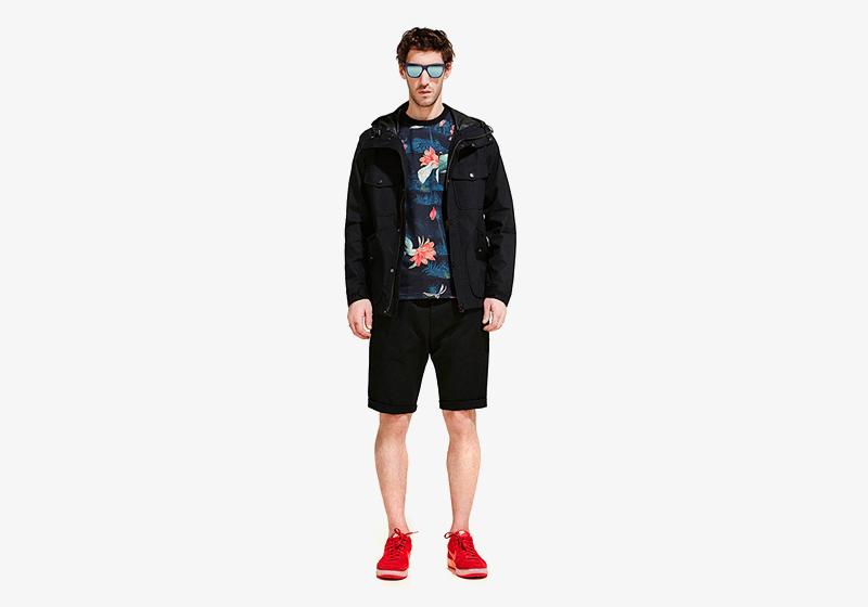 Carhartt WIP – pánská černá bunda, tričko – květinový vzor, černé šortky