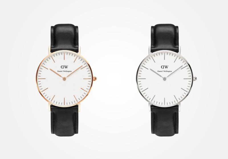 Daniel Wellington – dámské hodinky, náramkové, elegantní – Classic Sheffield – černý kožený náramek, bílý ciferník