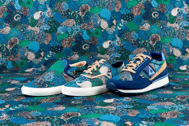 Le Coq Sportif x Liberty – nízké boty (tenisky) se vzorem, modré, zelené
