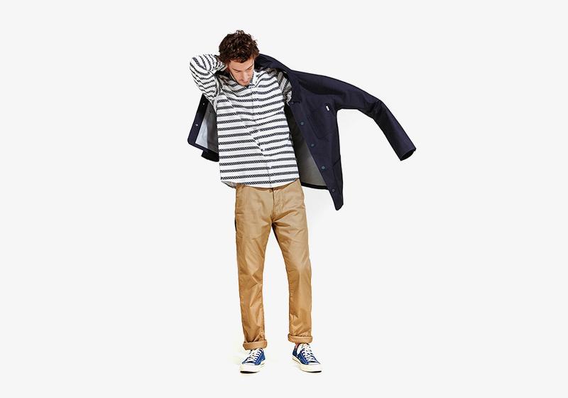 Carhartt WIP – béžové (pískové) kalhoty, pruhovaná košile – dlouhý rukáv