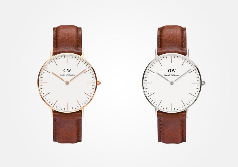 Daniel Wellington – dámské hodinky, náramkové, elegantní – Classic St. Andrews Lady – světle hnědý kožený náramek, bílý ciferník