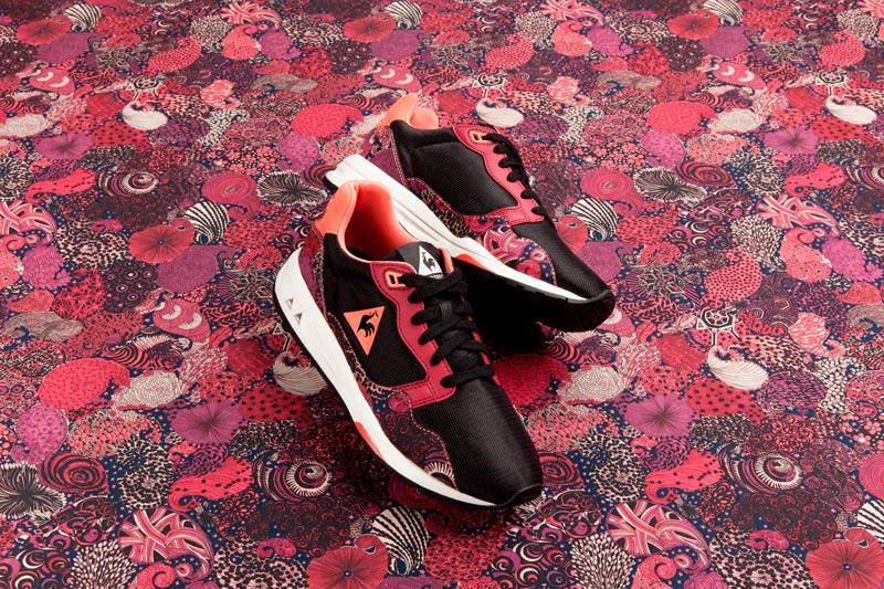 Le Coq Sportif x Liberty – běžecké boty (tenisky) se vzory, černo-červeno-růžové